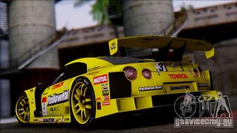 Nissan GTR R35 JGTC Yellowhat Tomica 2008 для GTA San Andreas вид слева