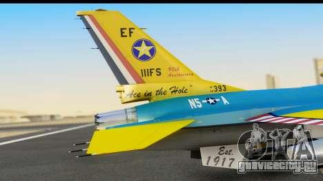 F-16C USAF 111th FS 90th Anniversary для GTA San Andreas вид сзади