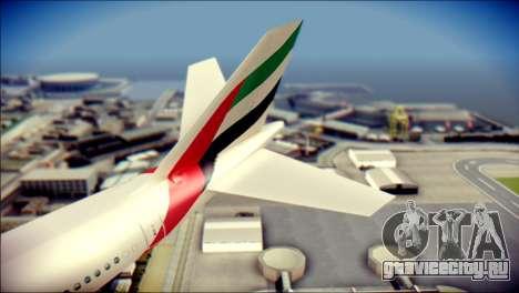 Airbus A340-300 Emirates для GTA San Andreas вид сзади слева