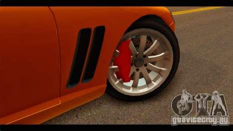 GTA 5 Dewbauchee Super GT для GTA San Andreas вид сзади слева