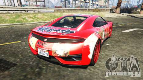 Dinka Jester (Racecar) Senran Kagura Ryobi Itasy для GTA 5 вид сзади слева