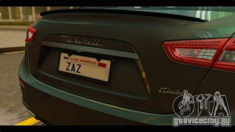 Maserati Ghibli S 2014 v1.0 SA Plate для GTA San Andreas вид справа