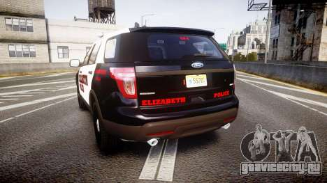 Ford Explorer 2011 Elizabeth Police [ELS] v2 для GTA 4 вид сзади слева