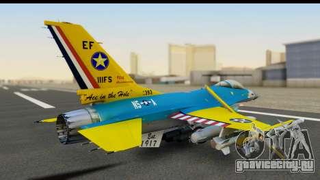 F-16C USAF 111th FS 90th Anniversary для GTA San Andreas вид сзади слева