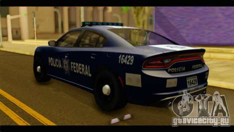 Dodge Charger 2015 Mexican Police для GTA San Andreas вид слева