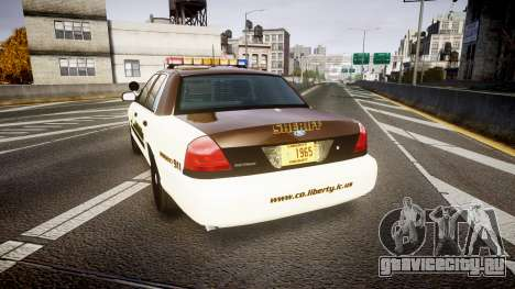 Ford Crown Victoria Liberty Sheriff [ELS] для GTA 4 вид сзади слева
