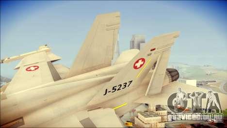 F-18D Swiss Air Force для GTA San Andreas вид сзади слева