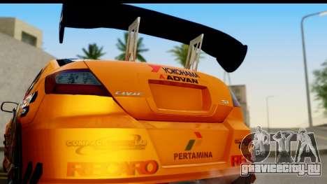 Honda Civic SI Juiced Tuned Shinon Itasha для GTA San Andreas вид справа