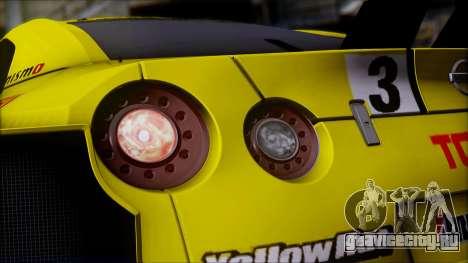 Nissan GTR R35 JGTC Yellowhat Tomica 2008 для GTA San Andreas вид сбоку