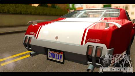 GTA 5 Declasse Sabre GT Turbo для GTA San Andreas вид сзади