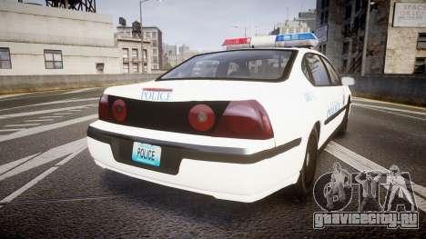 Chevrolet Impala Metropolitan Police [ELS] Pat для GTA 4 вид сзади слева