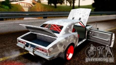 Chevrolet Camaro SS Camo Drift для GTA San Andreas вид изнутри