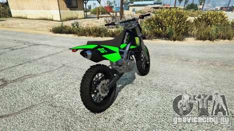 Maibatsu Sanchez Yamaha-KTM-Monster Energy для GTA 5 вид сзади слева