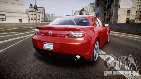 Mazda RX-8 2006 v3.2 Advan tires для GTA 4 вид сзади слева