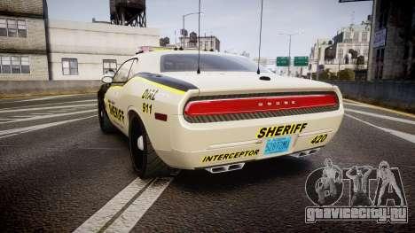 Dodge Challenger MCSO [ELS] для GTA 4 вид сзади слева