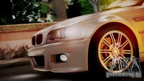 BMW M3 E46 v2 для GTA San Andreas вид изнутри