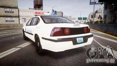 Chevrolet Impala Metropolitan Police [ELS] Traf для GTA 4 вид сзади слева