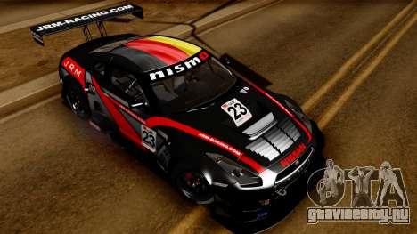 Nissan GT-R (R35) GT3 2012 PJ3 для GTA San Andreas вид сбоку