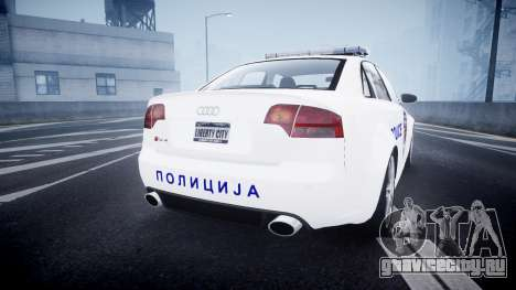 Audi RS4 Serbian Police [ELS] для GTA 4 вид сзади слева