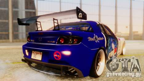 Mazda RX-8 Tuned Black Rock Shooter Itasha для GTA San Andreas вид сзади слева