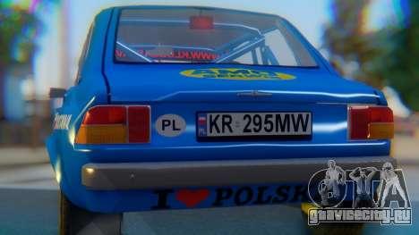 Zastava 1100P Rally для GTA San Andreas вид изнутри