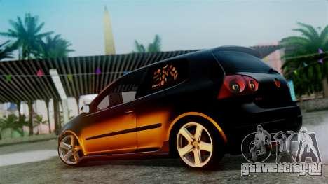 Volkswagen Golf Mk5 для GTA San Andreas вид изнутри