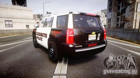 Chevrolet Tahoe 2015 Elizabeth Police [ELS] для GTA 4 вид сзади слева