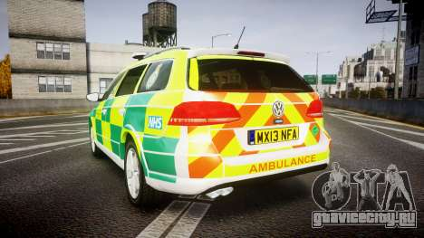 Volkswagen Passat B7 North West Ambulance [ELS] для GTA 4 вид сзади слева