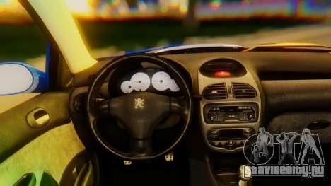 Peugeot 206 Full Tuning для GTA San Andreas вид справа