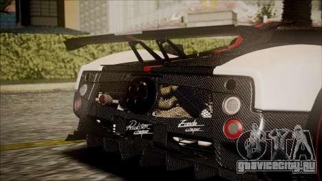 Pagani Zonda Cinque 2009 Autovista для GTA San Andreas вид сзади