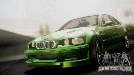 BMW M3 GTR Street Edition для GTA San Andreas вид сверху