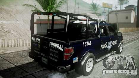 Ford Pickup Policia Federal для GTA San Andreas вид сзади