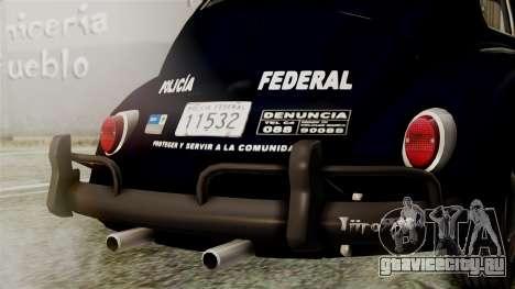 Volkswagen Beetle 1963 Policia Federal для GTA San Andreas вид изнутри