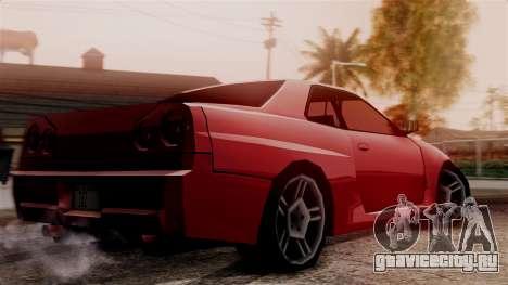 Nissan Skyline R34 SA Style для GTA San Andreas вид сзади слева