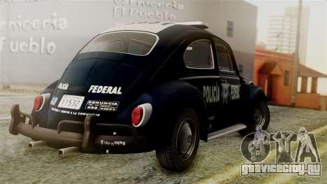 Volkswagen Beetle 1963 Policia Federal для GTA San Andreas вид слева