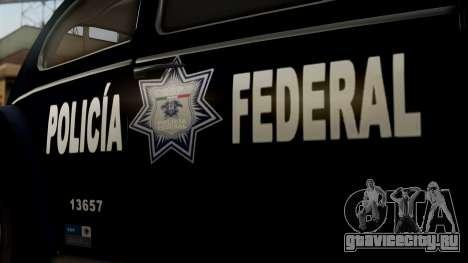 Volkswagen Beetle 1963 Policia Federal для GTA San Andreas вид справа