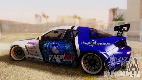 Mazda RX-8 Tuned Black Rock Shooter Itasha для GTA San Andreas вид слева