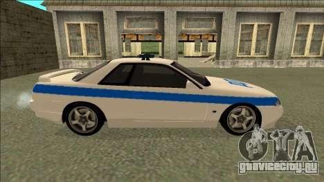 Nissan Skyline R32 Russian Police для GTA San Andreas вид изнутри