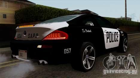 BMW M6 E63 Police Edition для GTA San Andreas вид слева