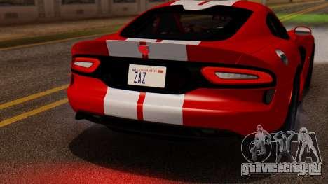 Dodge Viper SRT GTS 2013 IVF (MQ PJ) LQ Dirt для GTA San Andreas вид изнутри