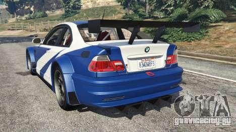BMW M3 GTR E46 Most Wanted v1.2 для GTA 5 вид сзади слева