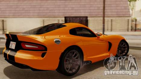 Dodge Viper SRT GTS 2013 IVF (HQ PJ) No Dirt для GTA San Andreas вид сзади слева