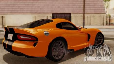 Dodge Viper SRT GTS 2013 IVF (HQ PJ) No Dirt для GTA San Andreas вид сзади слева