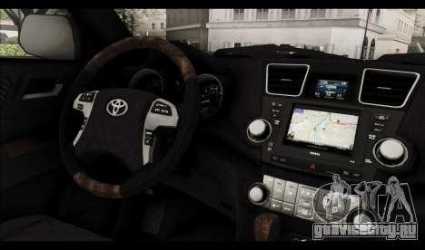 Toyota Highlander 2011 для GTA San Andreas салон