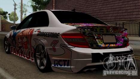 Mercedes-Benz C63 AMG Momoka and Nonoka Itasha для GTA San Andreas вид слева