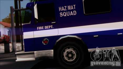 FDSA Hazardous Materials Squad Truck для GTA San Andreas вид сзади слева