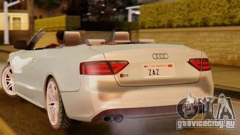 Audi S5 2010 Cabriolet для GTA San Andreas вид сзади слева