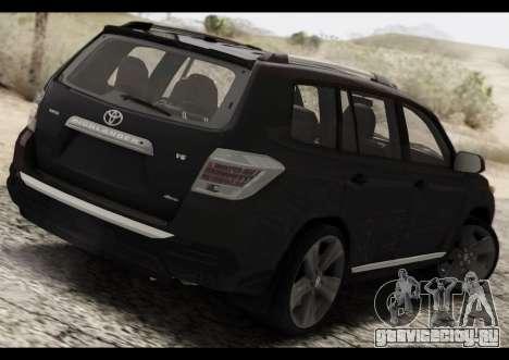 Toyota Highlander 2011 для GTA San Andreas вид сзади слева