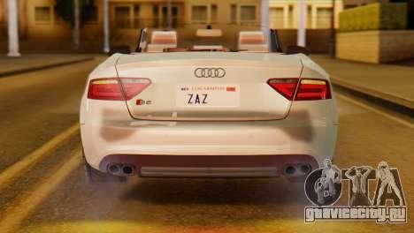 Audi S5 2010 Cabriolet для GTA San Andreas вид справа