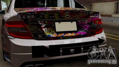 Mercedes-Benz C63 AMG Momoka and Nonoka Itasha для GTA San Andreas вид сзади